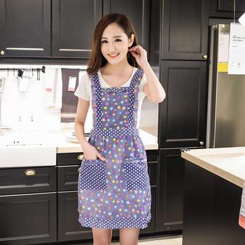 双层新款韩式纯棉厨房围裙 时尚
