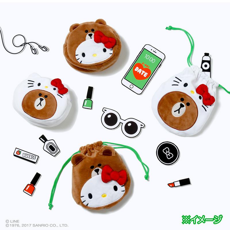日本採購LINE FRIENDS x HelloKitty布朗熊零錢包收納包購物袋