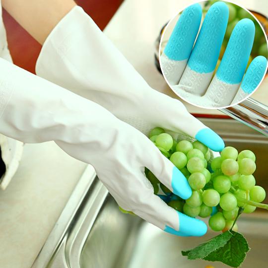 厨房家务塑胶防水橡胶手套 家用乳胶洗碗衣服皮手套 薄款加厚耐用