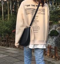 秋冬女装韩版ulzzang洋气字母假两件套头加绒情侣款卫衣女潮