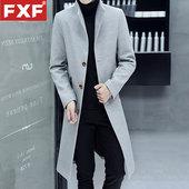 呢子风衣男长款外套青年男装立领毛呢大衣冬季保暖呢外套加长披风