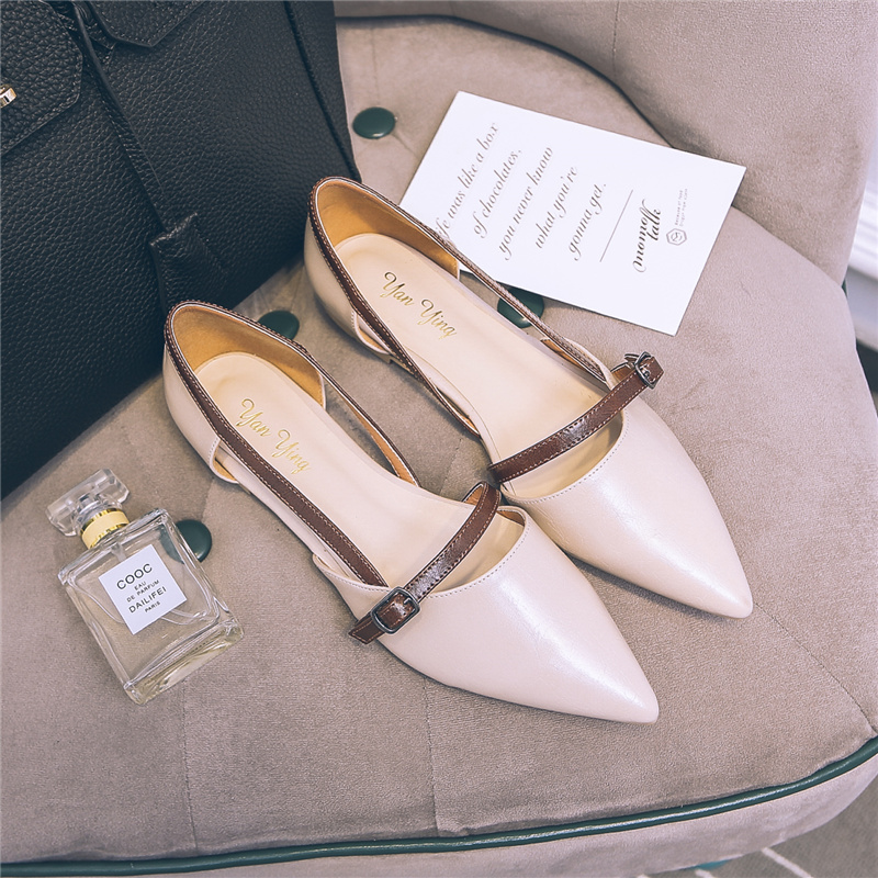 百搭淺口尖頭春季女鞋舒適單鞋平底鞋側空平OL鏤空