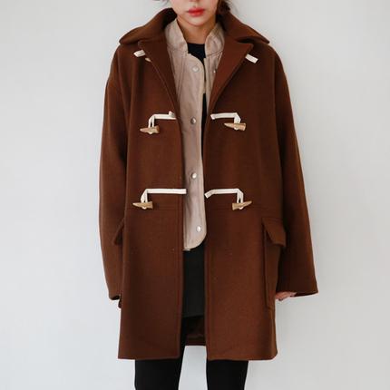 秋冬韩版加厚羊角扣呢子大衣中长款翻领牛角扣毛呢外套女宽松英伦
