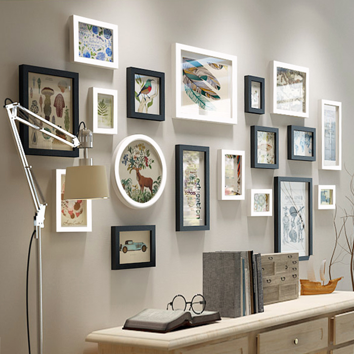 欧式实木照片墙黑白相片墙客厅沙发装饰背景挂墙相框