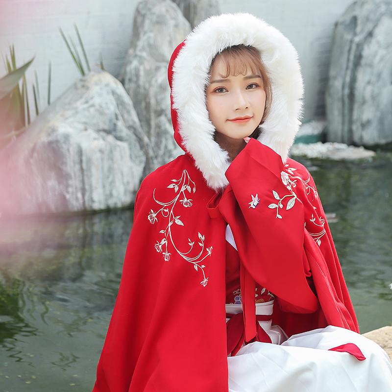 汉风华裳传统汉服斗篷女冬加厚日常短款沃裙保暖红色鸢汉元素披风