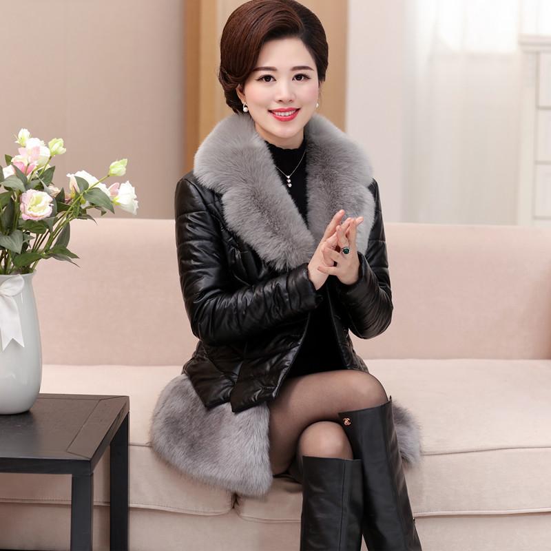 冬季新款pu皮皮衣羽绒服女中老年棉衣外套短款 中年妈妈装棉服