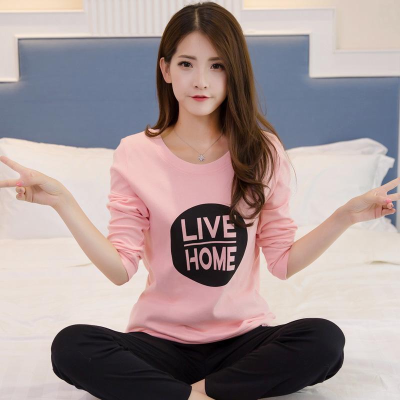 长袖睡衣女纯棉春秋韩版可外穿加大码运动卡通修身家居服套装夏季