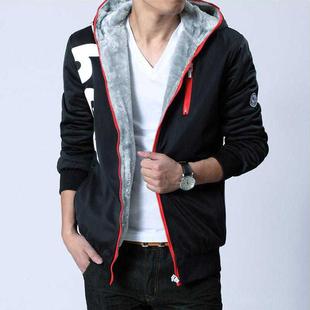 冬装青少年加绒连帽卫衣男士加肥加大码运动外套上衣服韩版潮男装