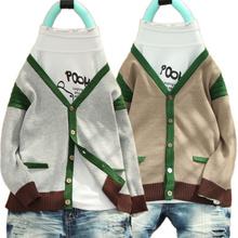 2014春秋新款童装 男童针织衫外套 儿童宝宝毛衣外套纯棉v领开衫