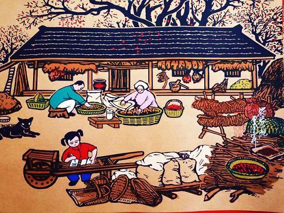 农家院秋院酒饭店农家乐装饰字画农村小孩读书农民画尺寸52x38cm