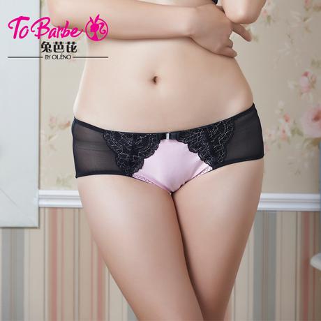奥丽侬旗下兔芭芘正品 性感精编花边中低腰平角裤 TK6096商品大图