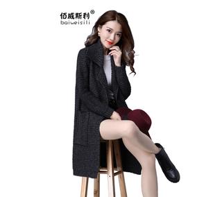 毛衣外套女中长款粗棒针加厚毛线衣针织开衫春妈妈装宽松大码大衣
