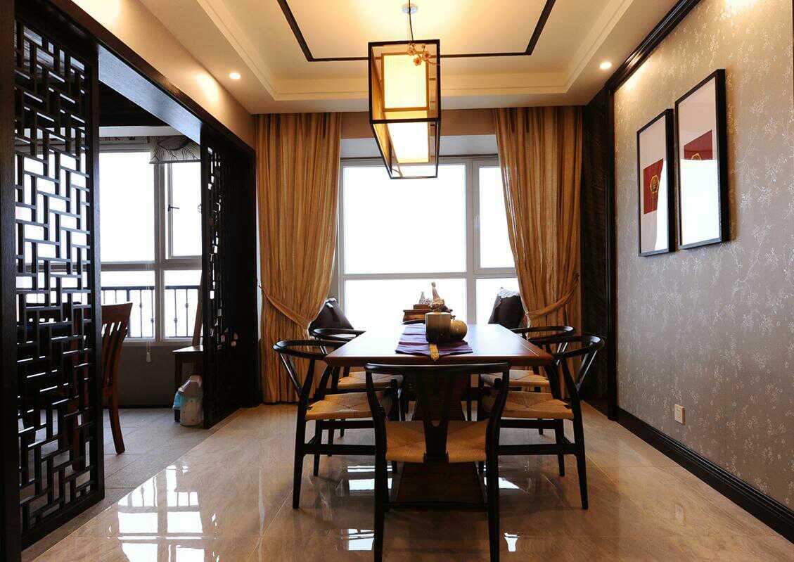 新中式装修进门玄关客厅吊顶花格隔断屏风沙发背景墙实木全屋定制图片