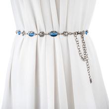 时尚百搭水钻镶嵌女士金属腰链 猫眼石水晶装饰腰带配裙子链条女