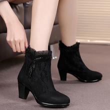 真皮女春秋靴短靴单靴女靴春季靴子磨砂女鞋中跟鞋马丁靴单鞋2611图片