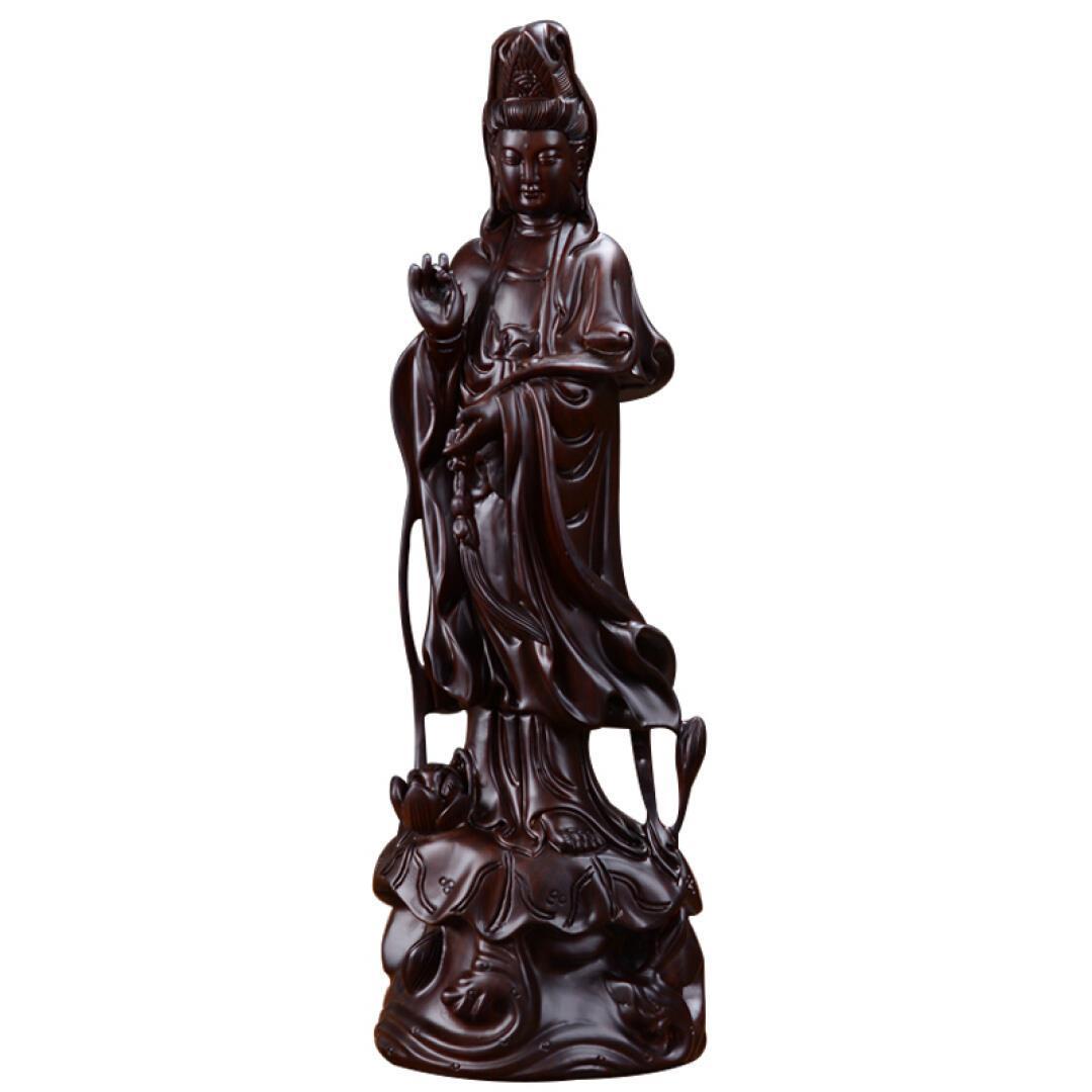 花语隆 黑檀木雕观音佛像摆件红木工艺品大号如意观音菩萨 80cm