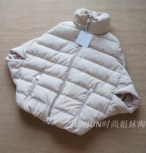 2016冬季新款女装外套立领蝙蝠袖斗篷款中袖羽绒棉服棉衣宽松大码