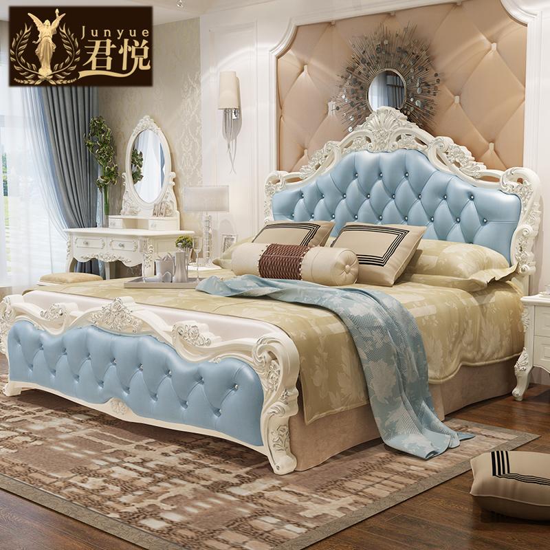 君悦 欧式床套装真皮床双人床法式床皮床1.8米田园公主床高箱婚床