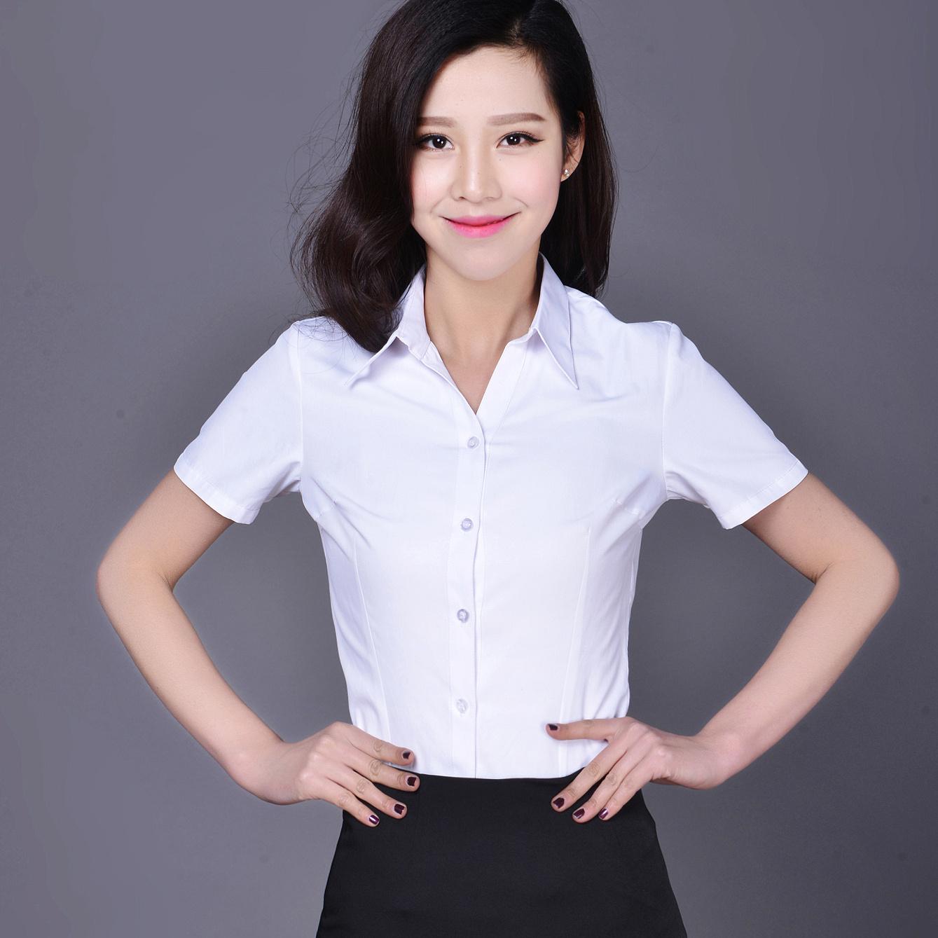 韩版棉白色女衬衫短袖夏装半袖工作服正装工装大码衬衣职业女装ol