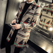冬季男士风衣外套中长款加厚加绒披风韩版修身毛呢大衣帅气发型师