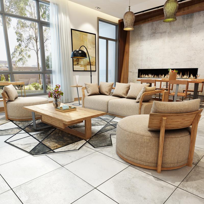 现代简约小户型客厅北欧布艺沙发三人木质整装家具