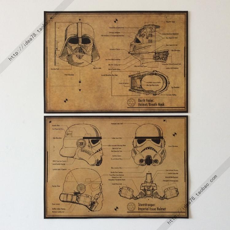 星球大战 黑武士\白兵 头盔面具 复古图纸 牛皮纸装饰画42*30cm