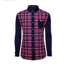 2016冬季新品男装格纹衬衫领毛衫 潮流新款男式针织开衫