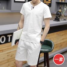 宽松棉麻衣服 t恤男V领休闲运动两件套大码 男青年短袖 夏季亚麻套装