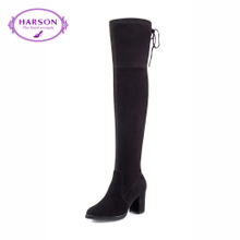 哈森 冬通勤圆头侧拉链女靴 羊皮绒粗高跟长筒过膝靴女HA65903图片