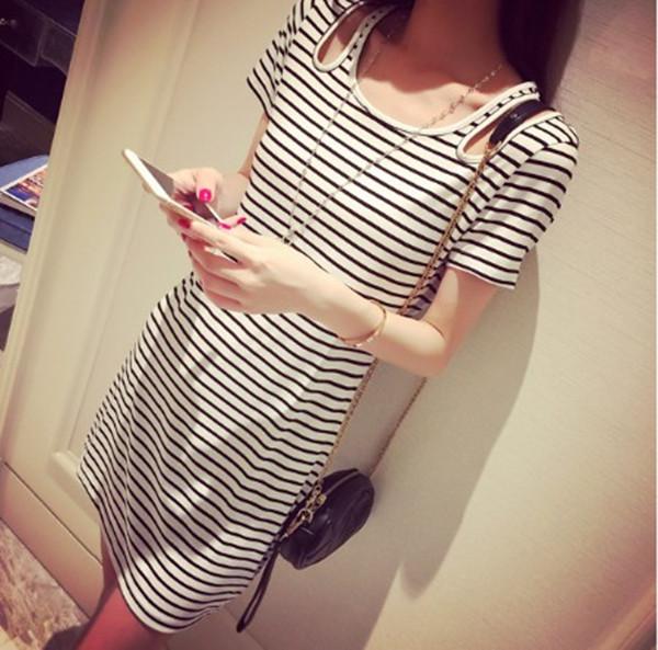 夏季时尚连衣裙2015新款露肩短袖T恤裙大码女中长款条纹显瘦短裙