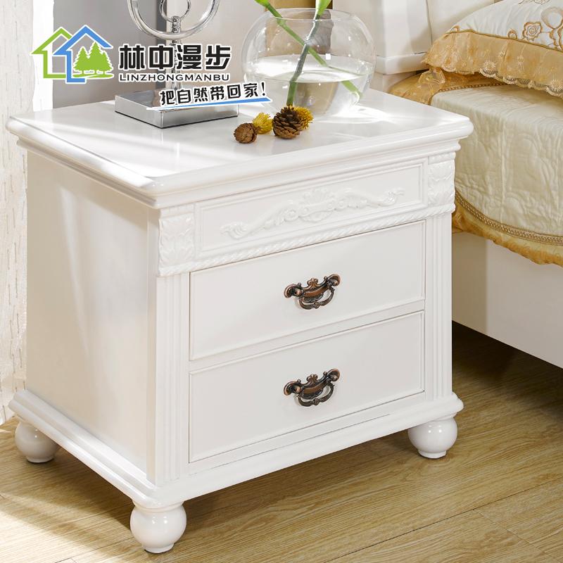 欧式白色全实木床头柜法式卧室床边柜韩式田园抽屉储
