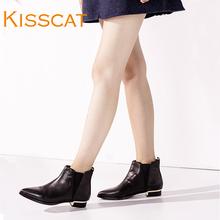 接吻猫秋冬新款短筒靴子简约百搭牛皮低跟短靴女DA75700-52