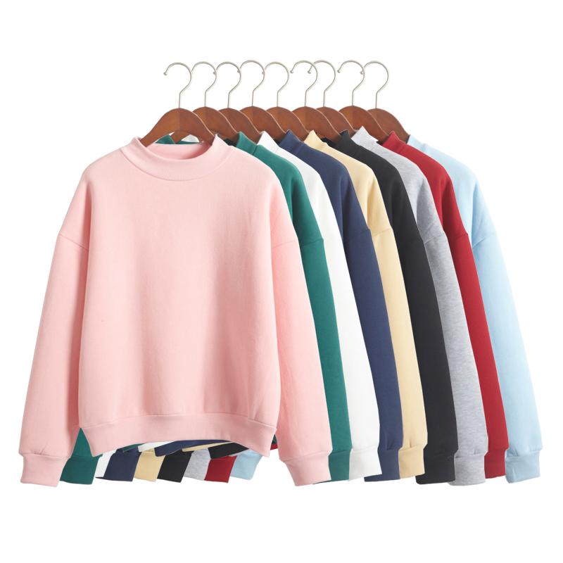 韩国纯色加绒卫衣女士秋冬新款小高领宽松加厚卫衣棒球服学生外套