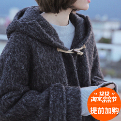 iFashion/瞌睡兔一件过冬超暖带帽毛呢大衣棉外套2016冬季新款