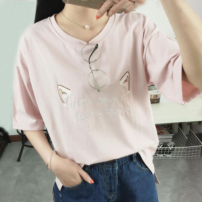 韩版刺绣圆领宽松t恤
