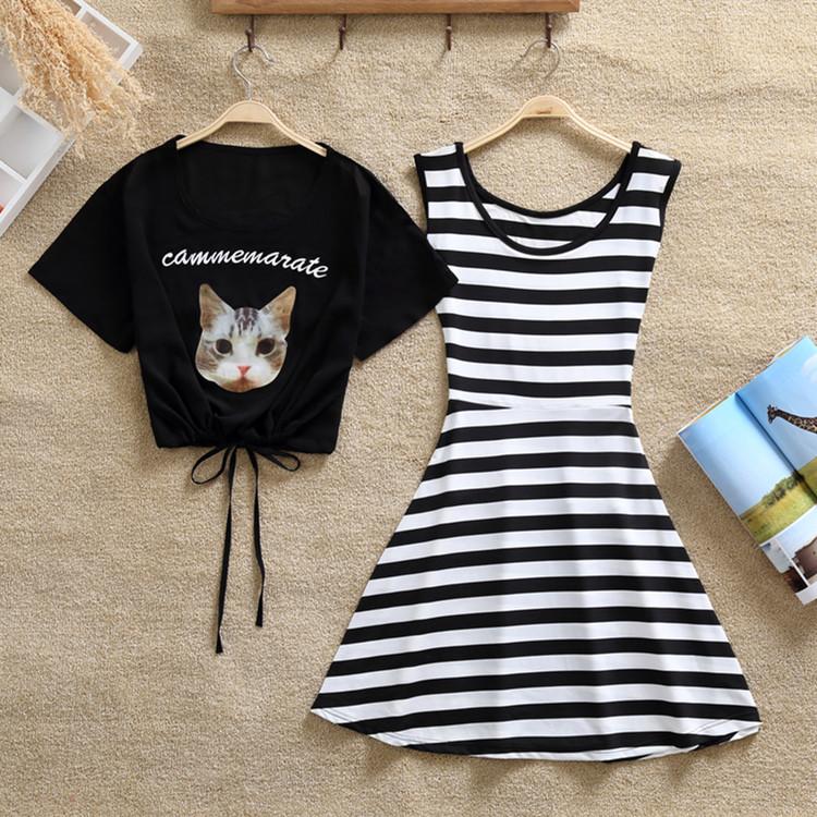 2017夏装新款套装裙子韩版闺蜜装两件套短裙学院风连衣裙女学生潮