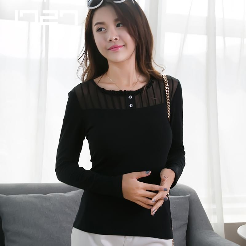 长袖t恤女春秋长袖打底衫圆领莫代尔棉大码韩版显瘦修身打底上衣