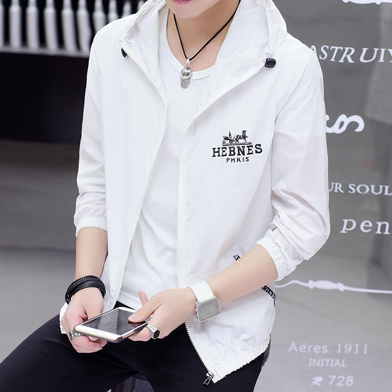 男士夏季衣男韩版透气户外防晒白色外套潮流夹克衫外衣