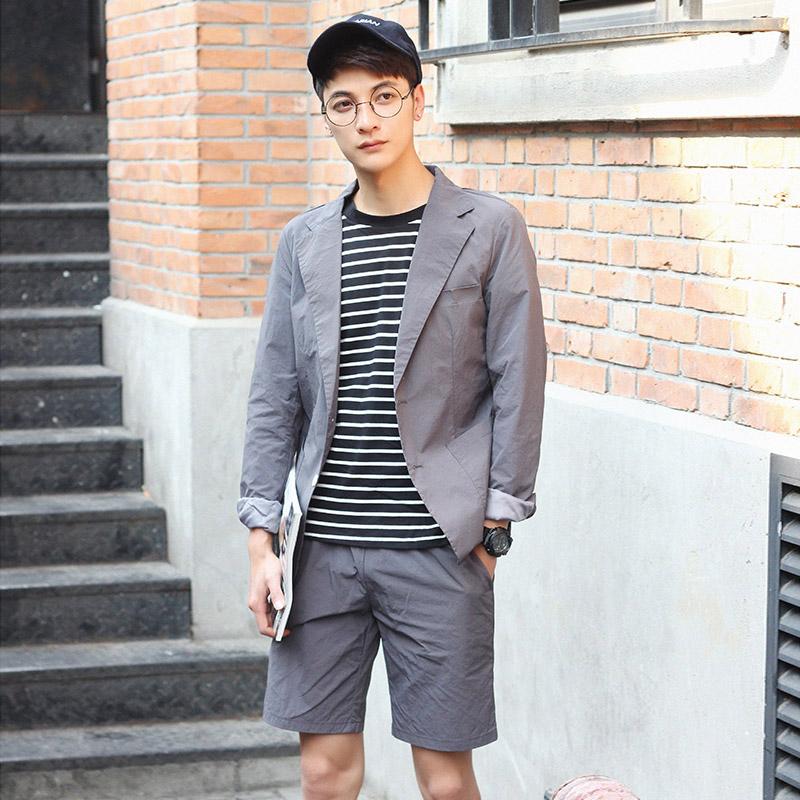 稻草朵夏季修身套装双开衩男装平驳领适合薄韩版西服套装163857