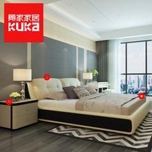 顾家家居双人床真皮主卧卧室成套家具1.8米现代简约皮床组合B113图片