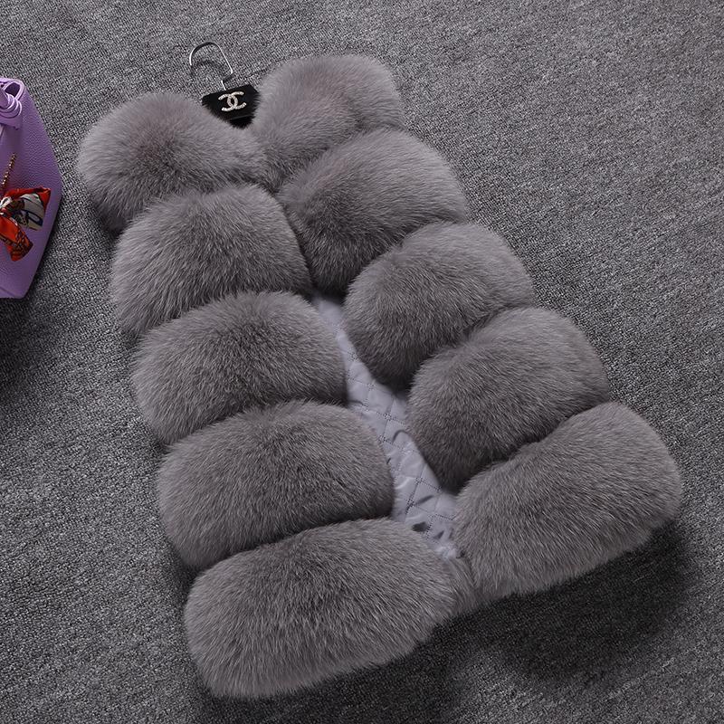 秋冬仿狐狸毛皮草马甲外套中长款 女装修身多拼大码毛毛坎肩外套