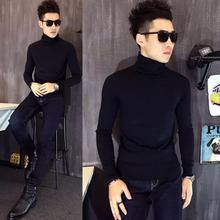男纯色高领毛衣英伦套头潮休闲男士堆堆领线衣紧身显瘦韩版打底衫