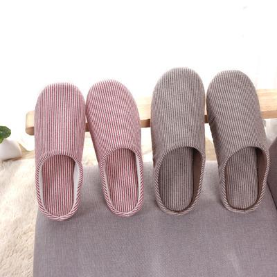 冬季日式家居家情侣亚麻棉拖鞋木地板无声卧室内韩国男女冬天