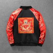 男士春季中国风刺绣龙金袖子龙袍夹克卫衣学生秋装情侣款上衣外套