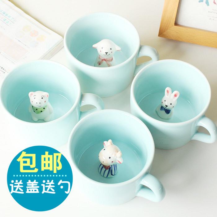 立体萌物咖啡杯动物陶瓷杯可爱马克杯水杯情侣杯子创意卡通带盖勺