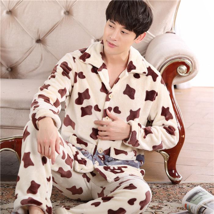 睡衣男士套装加大码加厚法兰绒秋冬季家居服男可爱