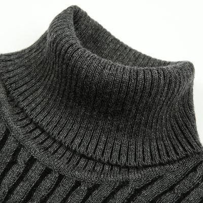 冬季加厚男士羊毛衫双反高领毛衣男式修身打底纯色弹力针织衫GJG