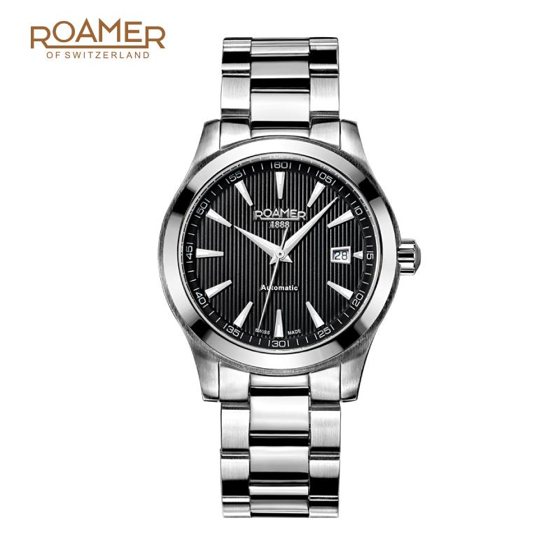 周大福ROAMER/罗马瑞士表光辉岁月系列男表机械表精钢表带男士表