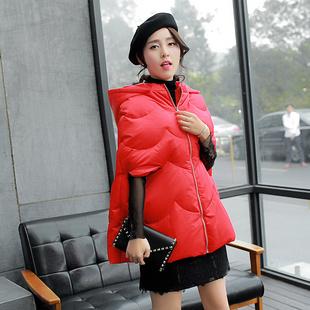 连帽新款加厚外套白鸭绒冬装斗篷型韩版五分袖拉链毛领女羽绒服