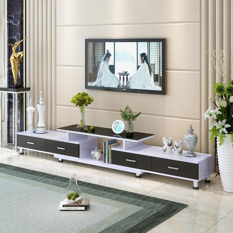 云曼钢化玻璃伸缩电视柜茶几组合简约现代欧式小户型